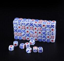 Juego de dados de plástico estándar de 10mm/12mm/14mm, 25 unidades por lote, juego de dados de decisor blanco, Bauble RPG B2C Shop, dados de puntos rojos y azules GYH