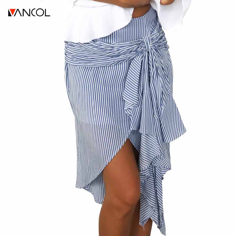 Асимметричная юбка в полоску
