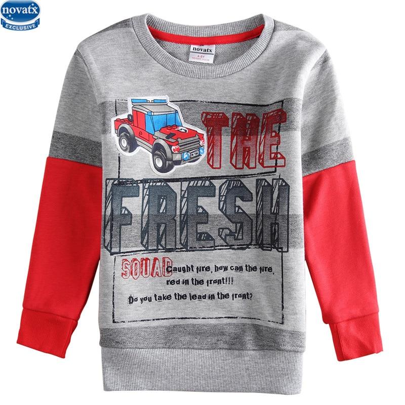 novatx a6743 kids clothes hot sale new design stripe printed car pattern long sleeve t shirt