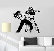 Vinyl wall applique sexy couple dancer dancing hip hop teen room sticker street dance bedroom decoration  TW19