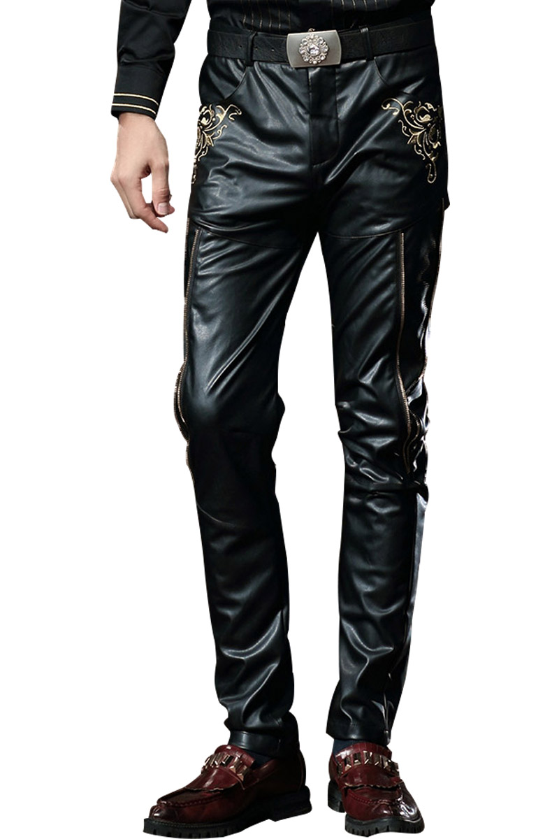 Fanzhuan Free shipping new fashion men's male slim casual punk leather embroidery PU personality pants 518055 Skinny trousers