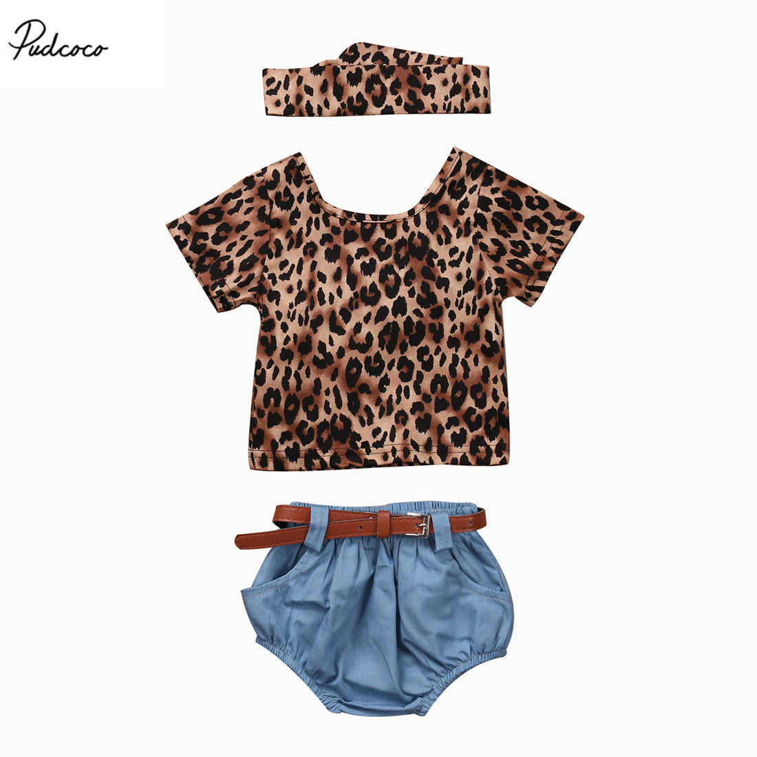 3pcs Newborn Baby Girls Leopard Short Sleeves T-Shirt Blue Shorts Headhand 2017 New Summer Clothes Set