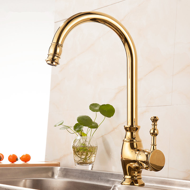 Kitchen Sink Faucet Gold Sink Mixer Tap Brass Hot and Cold Single Handle Deck Mounted Kitchen Sink Faucet Wash Basin Faucet