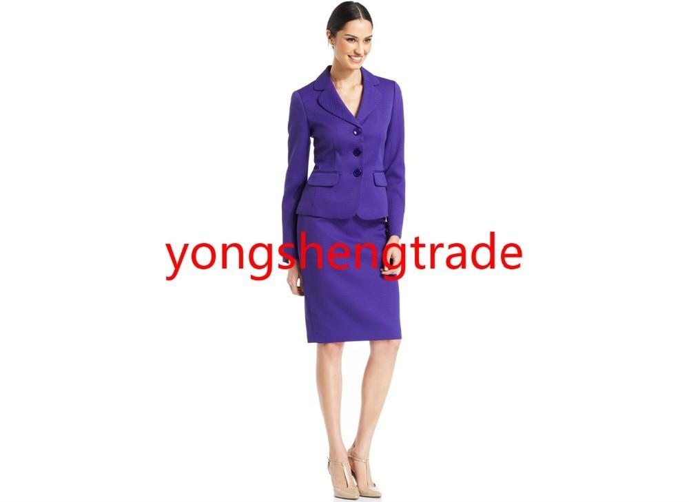 Modern Classic Style Three Button Skirt Suit Purple Women Suit