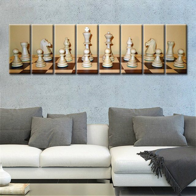 Elegant 8 Pieces Large Picture Room Decor Fashion Gift Chess Artwork Painting Print  Canvas Modern Home Decoration