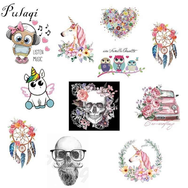 Pulaqi Unicorn Owl Animal Các Bản Vá Lỗi Punk Phong Cách Nhiệt Transfers cho T-Shirt Áo Đính Dreamcatcher Phụ Kiện May Mặc Diy B