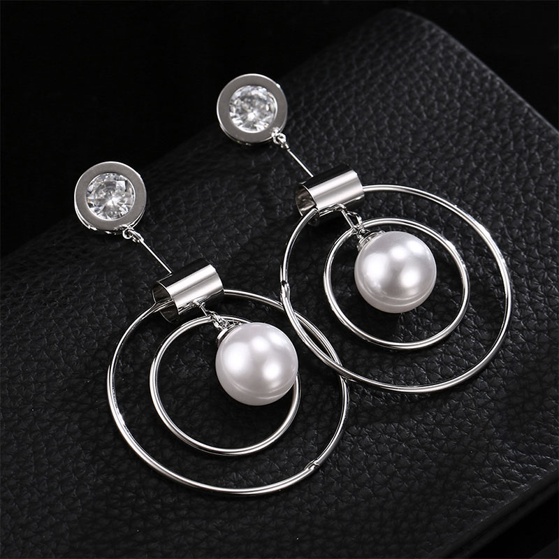 Europe and the United States simple creative personality circle zircon pearl earrings fashion long earringsEarings Wholesale