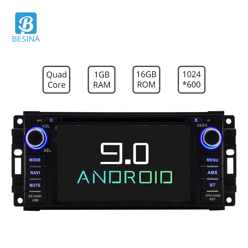 Besina Android 9.0 lecteur DVD de voiture pour Dodge RAM 1500 Chrysler Sebring Jeep boussole Commander Grand Cherokee Wrangler GPS Radio