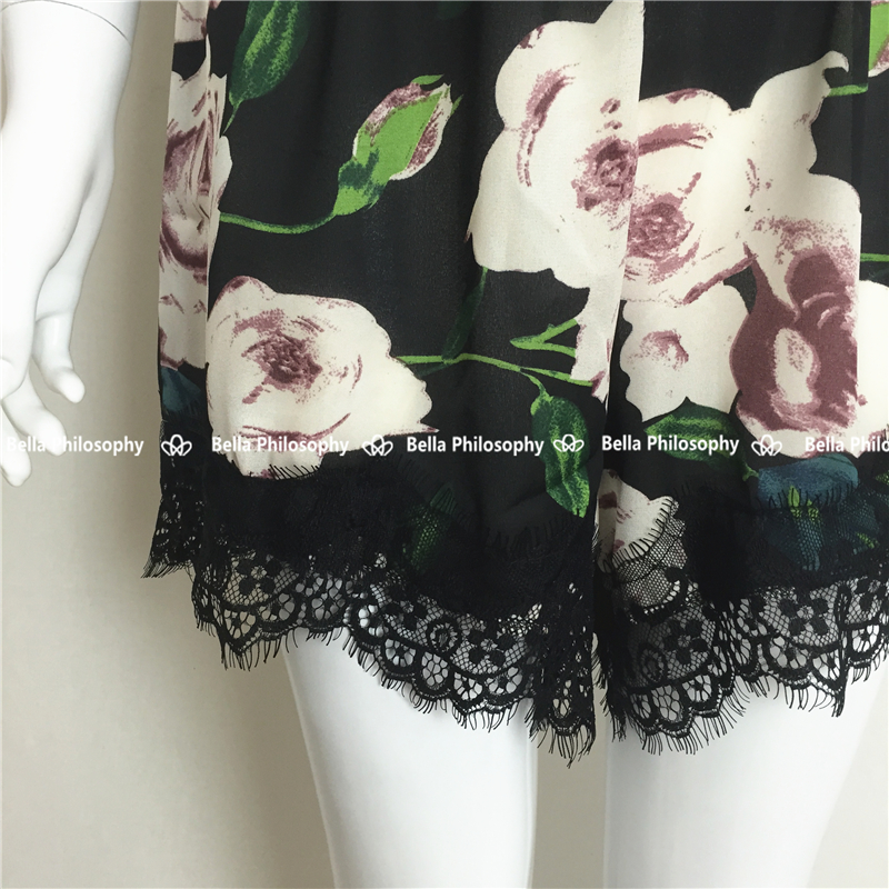 9ed059b0a68 spring summer new Womenswear sexy lace stitching V neck straps pink flowers  floral print black jumpsuit romper-in Rompers from Women s Clothing on ...