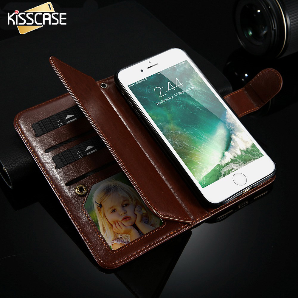 imágenes para Kisscase para iphone 6 6s 7 plus case flip pu cartera de cuero cubierta para iphone 6 6s 7 más la tarjeta photo frame slots caballo conchas