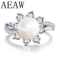 Настоящее свадебное кольцо из белого золота 14 к, круглый натуральный жемчуг, кольцо с муасанитом, кольцо, ювелирные украшения, юбилей для же