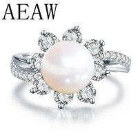 Настоящее свадебное 14 К обручальные кольца из белого золота круглый натуральный жемчуг кольцо с Муассанит кольцо Fine Jewelry Юбилей Для женщин