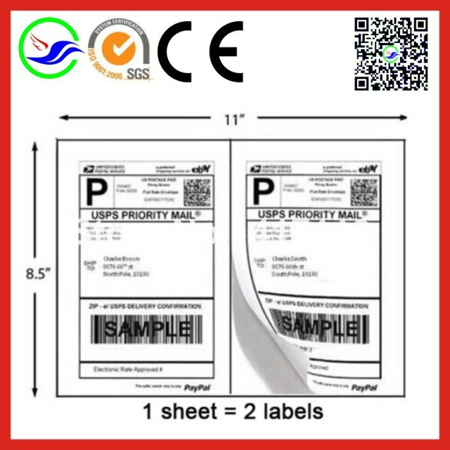 US $500 0 |600 A4 Half Sheet Self Adhesive Shipping Label Blank white for  laser printer and Inkjet Printers Label,Free shipping-in Printer Ribbons