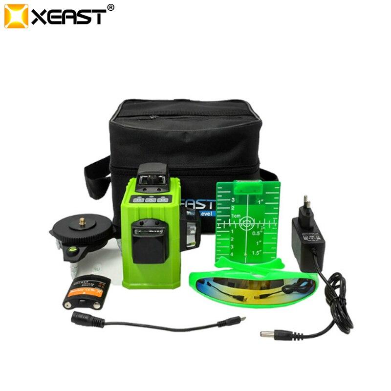 Xeast XE-61A 12 Lignes 3D vert Laser Niveau 360 Auto-Nivellement Horizontal Vertical Croix laser nivel Laser Faisceau Ligne niveau laser