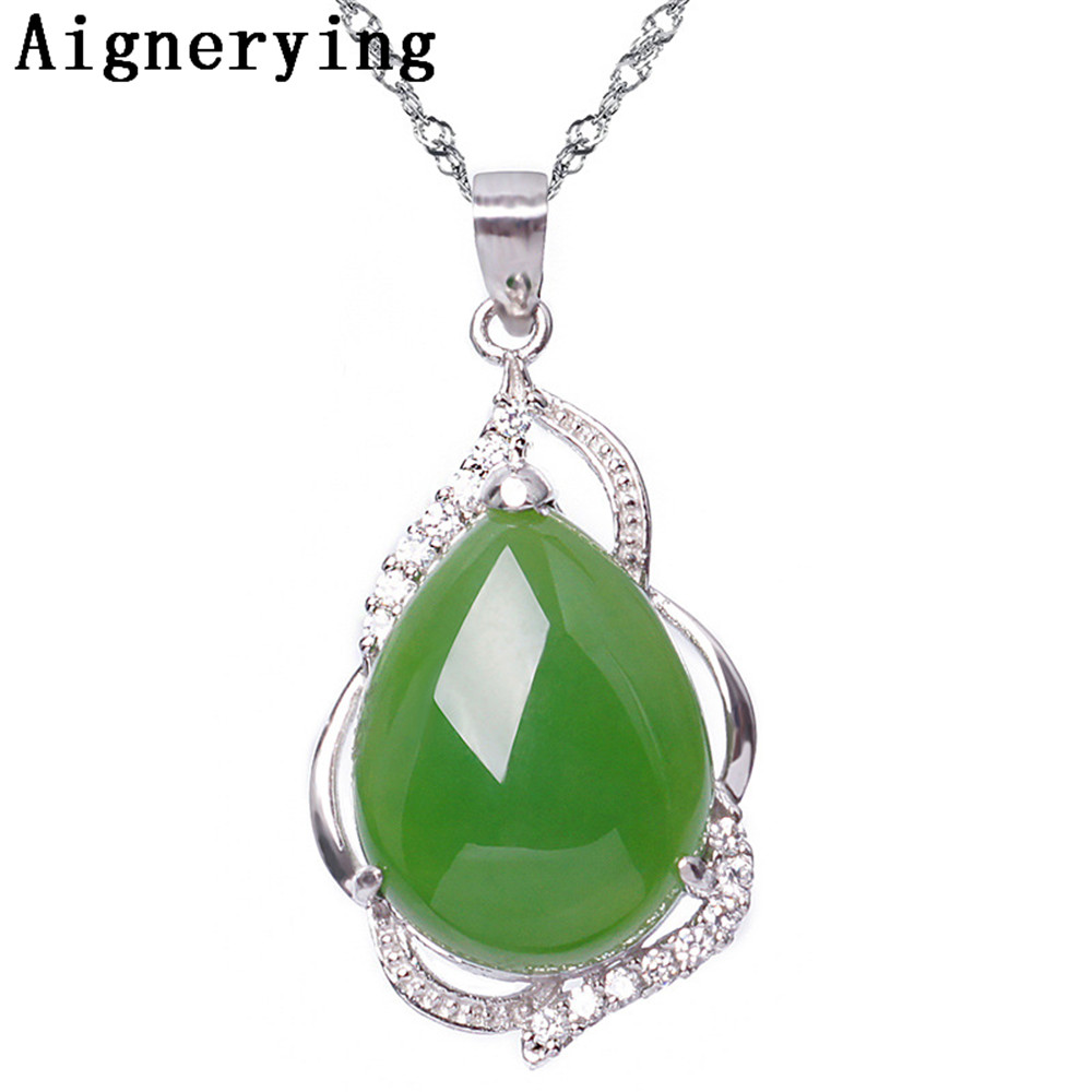 Original Pendant Necklace Certificate 925 silver Natural Green Jade Zircon Inlaid Craft Cute For Woman Gift with Box Original Pendant Necklace Certificate 925 silver Natural Green Jade Zircon Inlaid Craft Cute For Woman Gift with Box