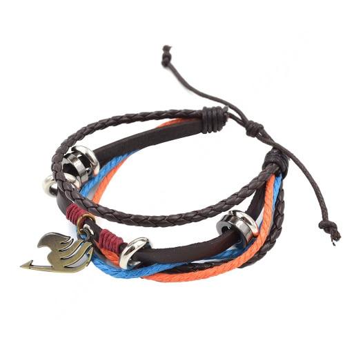 Fairy Tail Attack on Titan Miku Naruto Men Woman Multi Layer PU Leather Bracelet
