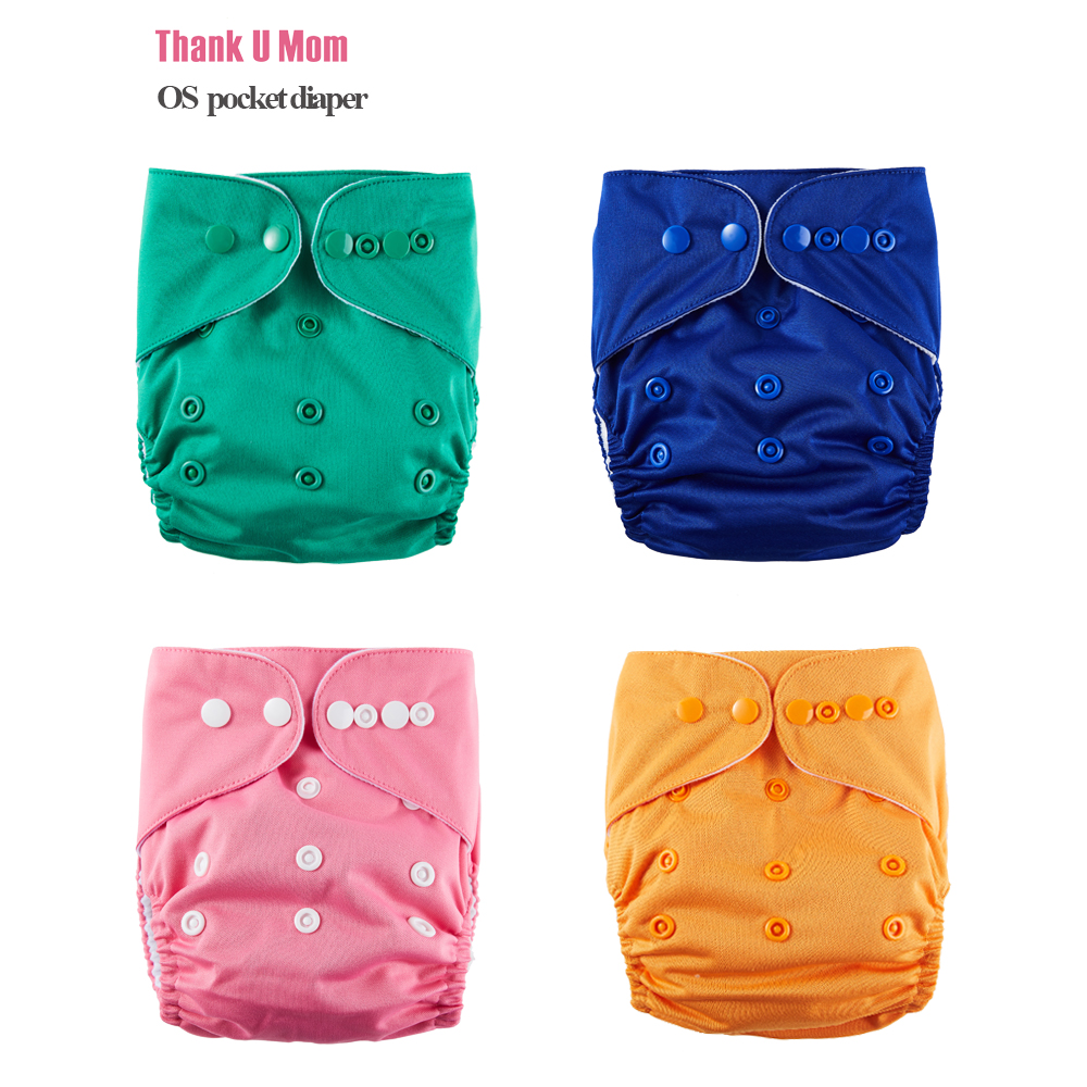 Thank U Mom Cloth Diaper Baby Nappy OS Pocket Diapers Stay Dry Suede Cloth Inner Waterproof PUL Outer Fit 8-35 Pounds