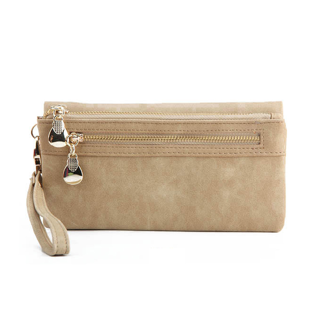 New Fashion Women Vintage Double Zipper Dull Polish Leather Long Wallet Ladies Girls Clutch Purses Female Wallet Handbag 7 color