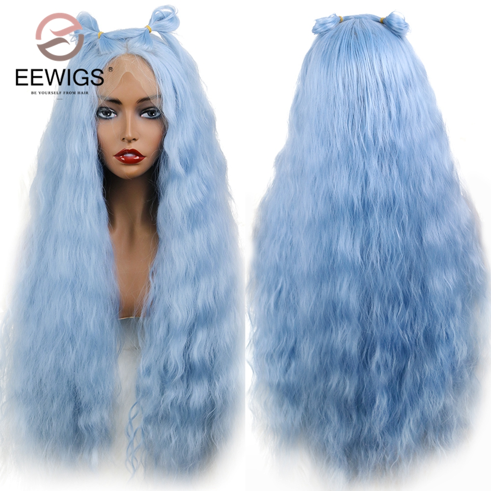EEWIGS Light Blue Synthetic Lace Front Wigs With Natural Hairline Buns Heat Resistant Loose Wave Wigs For Women Make Up Party