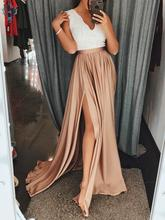 Ameision Long Party Evening Dress 2019 Sexy Evening Gown V Neck Satin Lace Zipper A-Line Slit Slim Fit Formal Maxi Dresses Prom