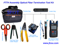 FTTH Assembly Optical Fiber Termination Tool Kit with Fiber Cleaver . FTTH Kit, FTTH TooL Box. 8pcs/set