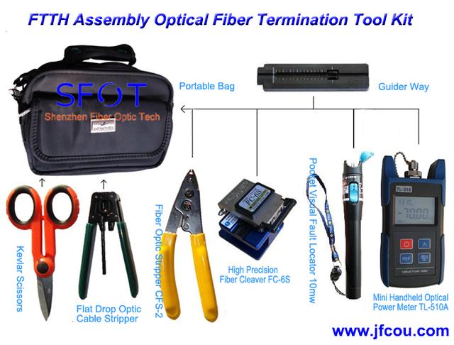 Kit de terminação FTTH assembléia de fibra óptica com fibra cleaver. Ftth caixa de ferramentas. 8 pçs/set