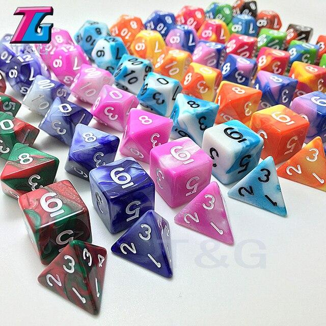 Alta Qualidade Efeito da Dobro-Cor Dice Set D4 D6 D8 D10 D12 D20 7 pc/lote para RPG Jogo de Tabuleiro com Os Amigos Da Família