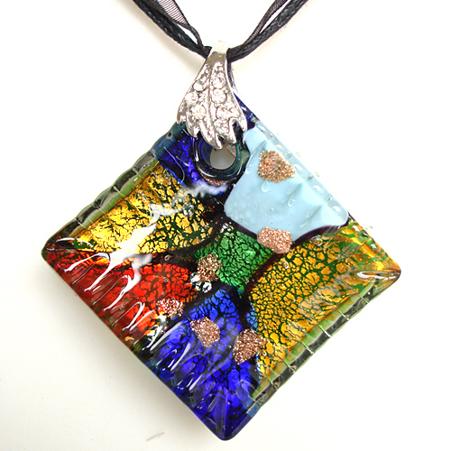 RED SNAKE Murano Glass Green Yellow Red & Colorful Rhombus Pendant Necklace