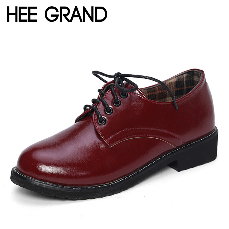 HEE GRAND 2017 Patent Leather Women Oxfords British New Spring Platform Flats Casual Lace-Up Ladies Brogue Shoes Woman XWD2530 n11 brand 2017 spring women platform shoes woman brogue patent leather flats lace up footwear female flat oxford shoes for women