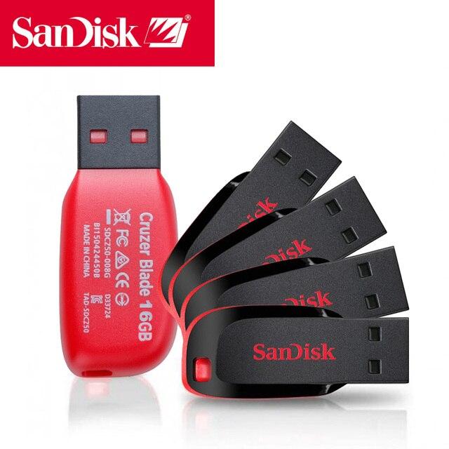 新しいサンディスク USB フラッシュ 8 ギガバイト 16 ギガバイト 32 ギガバイト 64 ギガバイト 128 ギガバイト CZ50 クルーザーブレイドミニ Cle USB 2.0 スティックジャンプドライブディスクペンドライブ 32 ギガバイト