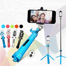 Foldable Bluetooth Shutter Selfie Stick + Tripod Monopod Sticks Remote Control Stand Holder For iPhone Xiaomi Android Phones