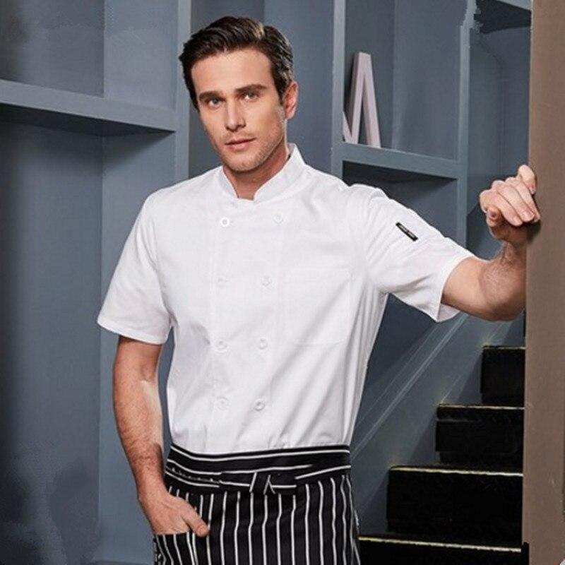 Short Sleev Restaurant Chef Uniforms White Chef Jacket Cake Cook Uniform Summer Chef Tops