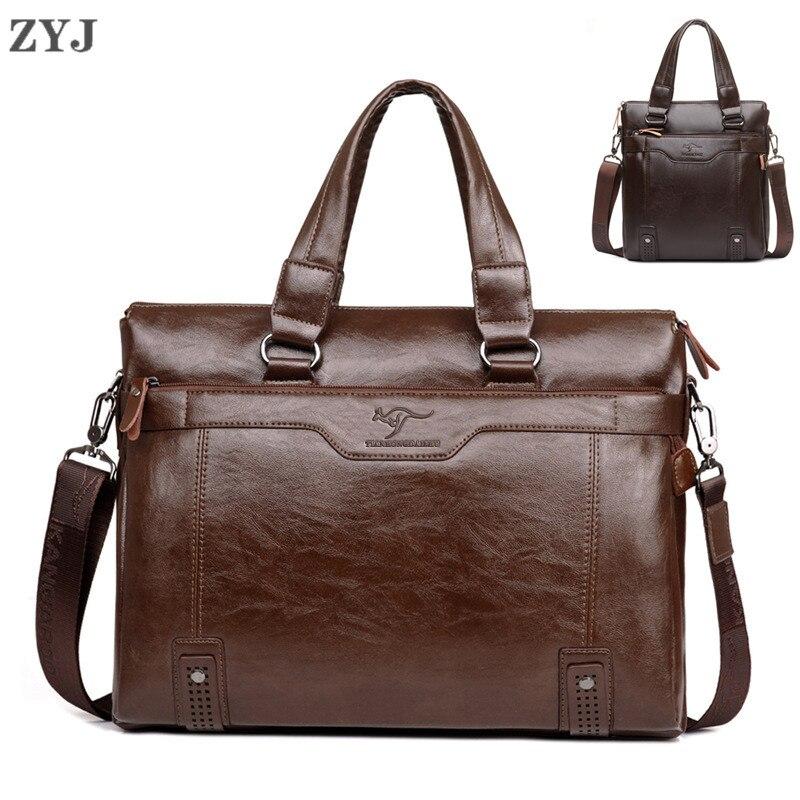 ZYJ Men's Business Leather Shoulder Laptop Briefcase Bags Sling Travel Messenger Portfolio Bag Causal Lawer Handbag