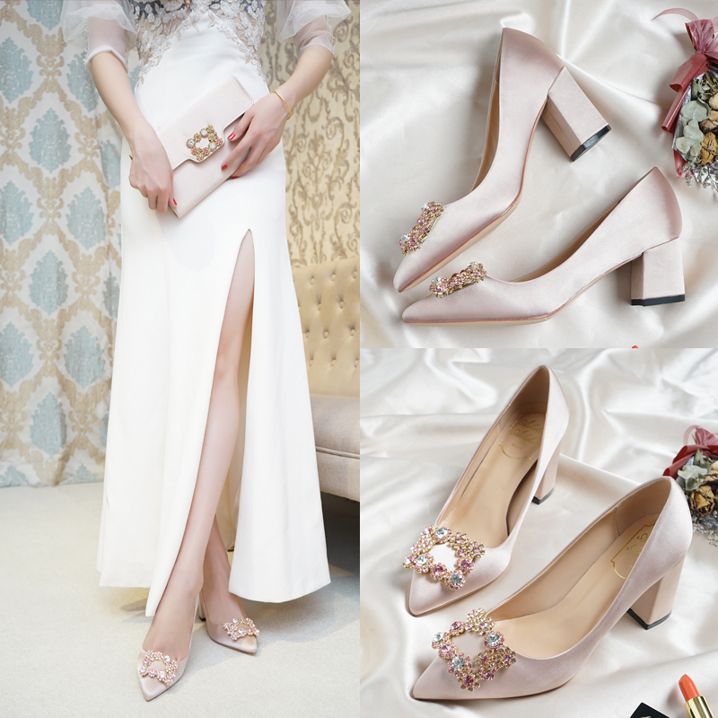 Ladies High Heels 5 7cm Thick Square Pointed Toe Metal Stone Buckle Decoration Champagne Color Pregnant