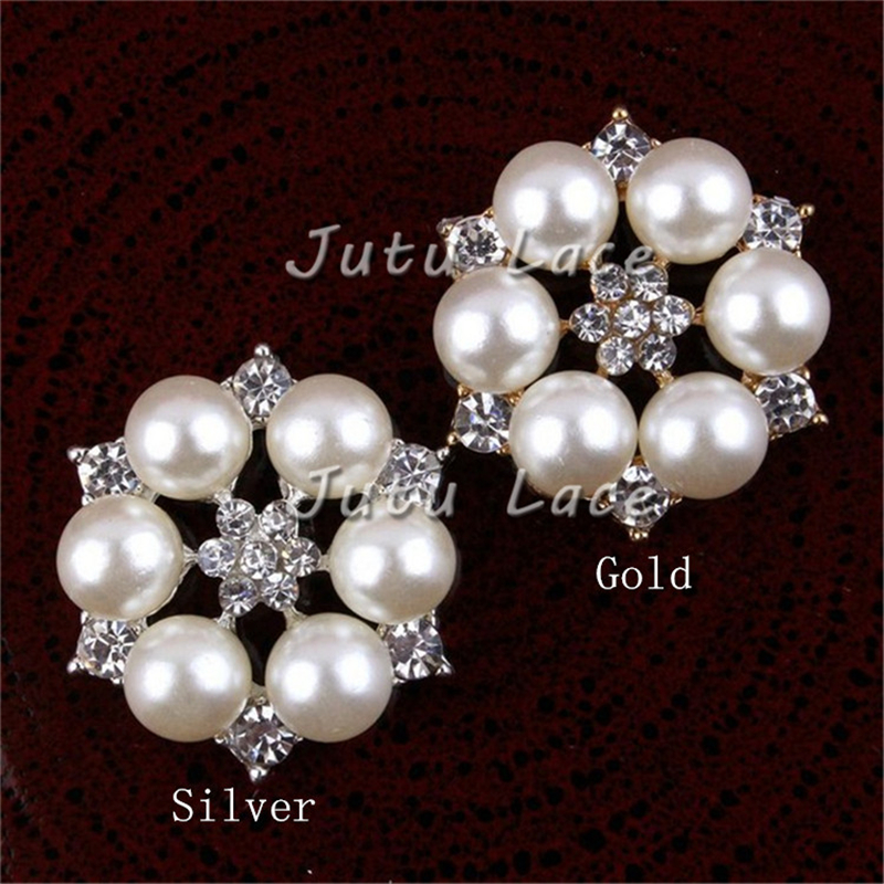 40pcslot Fancy elastic headband crystal rhinestone button curly bow flowers beads