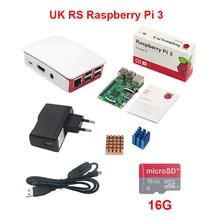 Малина Pi 3 Starter Kit + 16 г SD карта + официальный abs корпус + 2.5A Мощность адаптер + коммутатора кабель USB + медь алюминиевый радиатор