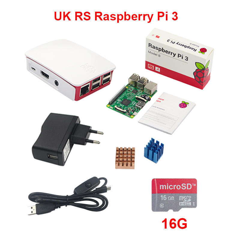 UK Made RS Raspberry Pi 3 + 16G SD Card + Official ABS Case + 2.5A Power Adapter + Switch USB Cable + Copper Aluminum Heat Sink