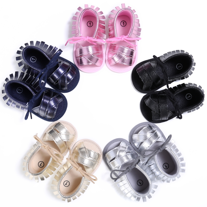 Fashion Summer Baby Girls Shoes First Walkers PU Breathable Hollow Out Anti-slip Newborn Cack Shoes