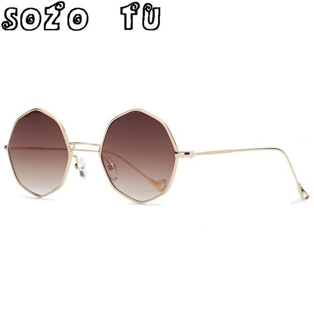 SOZO TU Tendências polígono Das Mulheres Óculos de Sol Pequeno quadro  Limpar lens Preto Óculos De 26cf27ff22