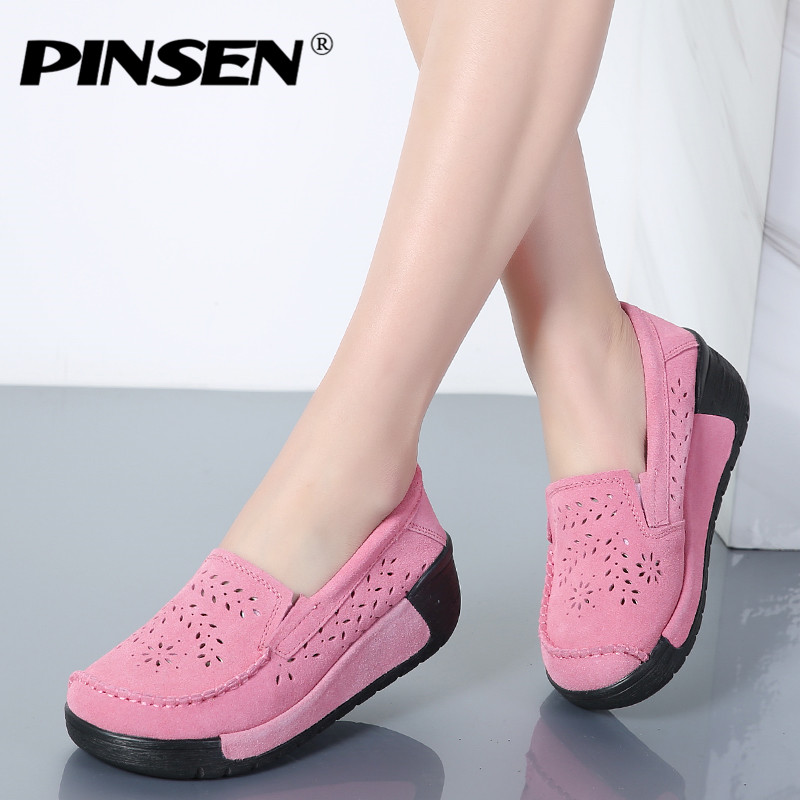 PINSEN Summer Women Casual Shoes Suede Leather Slip-On Women Flats Platform Shoes Woman Moccasins Loafers Shoes chaussures femme siketu sweet bowknot flat shoes soft bottom casual shallow mouth purple pink suede flats slip on loafers for women size 35 40
