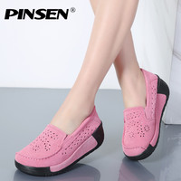 PINSEN Summer Women Casual Shoes Suede Leather Slip On Women Flats Platform Shoes Woman Moccasins Loafers Shoes chaussures femme