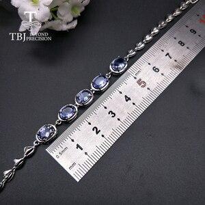 Image 3 - Женский браслет с голубым цирконием TBJ, браслет из серебра 925 пробы, 4 карат, ювелирное изделие в подарок