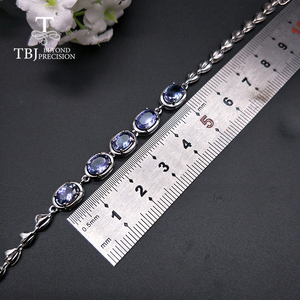 Image 3 - TBJ,Real natural 4ct up Blue tanzanite gemstone bracelet 925 sterling silver fine jewelry for women best gift