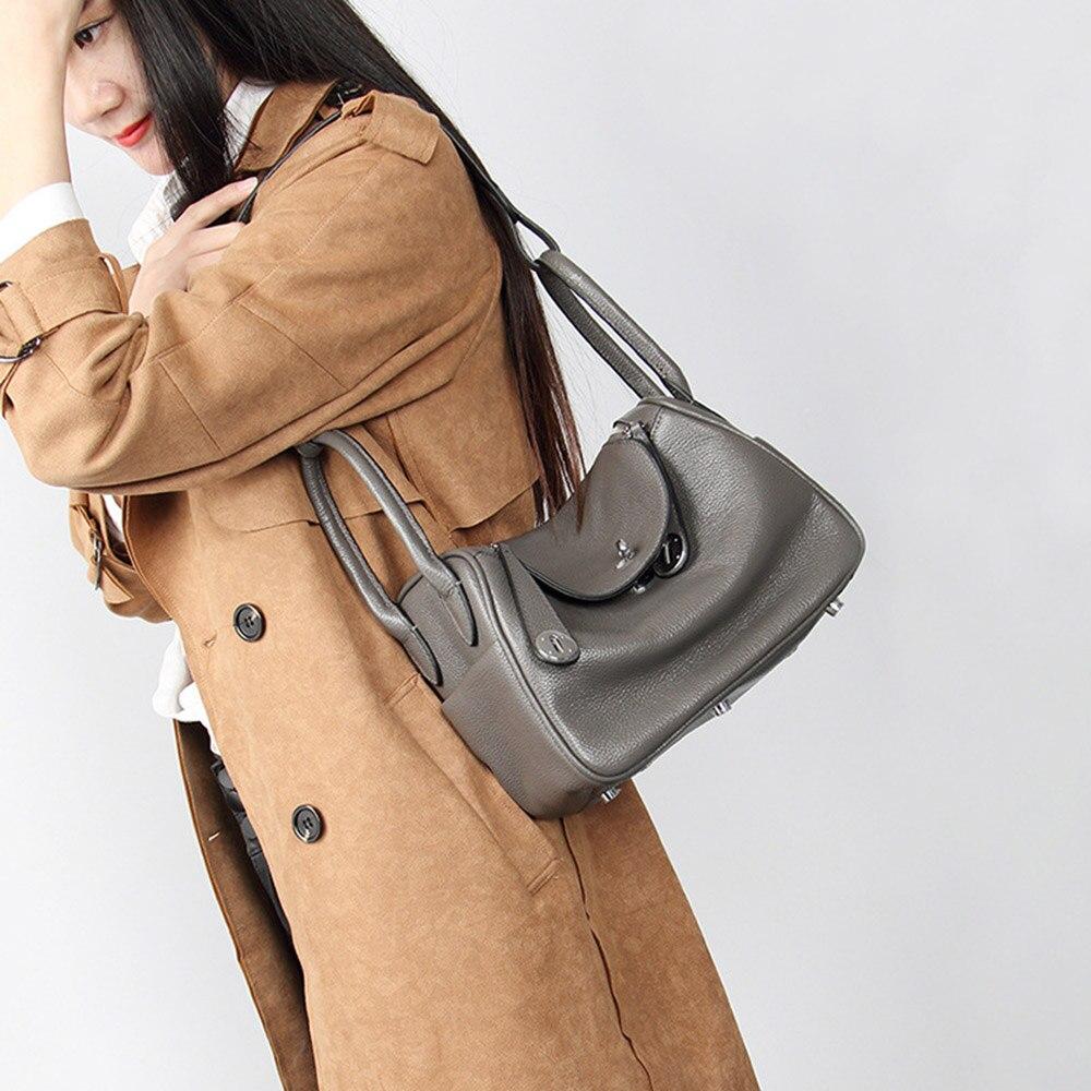 Zency nouveau docteur Style 100% en cuir véritable femmes sacs à main classique dame épaule sac à main bandoulière Messenger sac fourre-tout sacoche - 2
