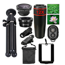 Kogngu Universal Camera Lens Kit 12X Zoom Lens For Smartphone Telephoto Lens Wide Angle Fish Eye Macro Lens + Tripod Self Stick 4 in 1 phone lens 0 63x wide angle macro fish eye telephoto zoom lens for samsung s8 s9 plus phone camera lens kit