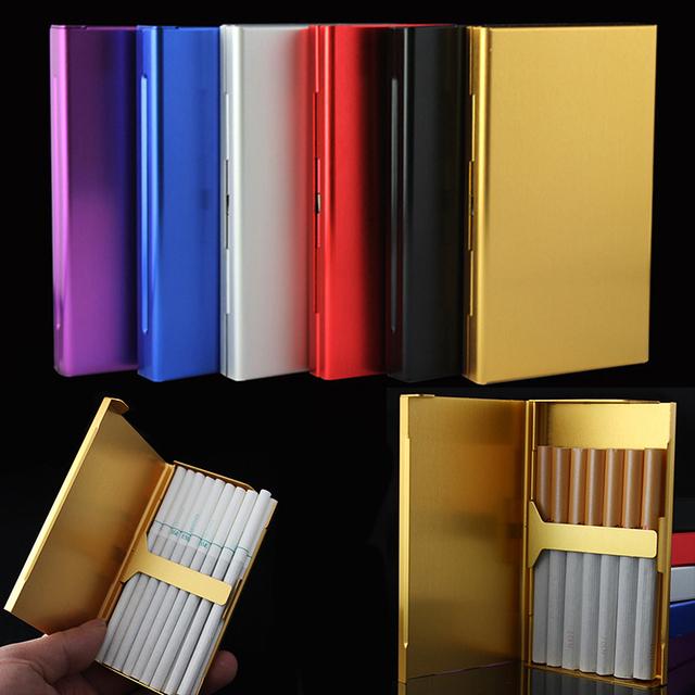 20 Sticks Thin  Pipes Creative Personality Cigaret Case Slim Lady Metal Cigarette Box  Gift Cigarette Holder
