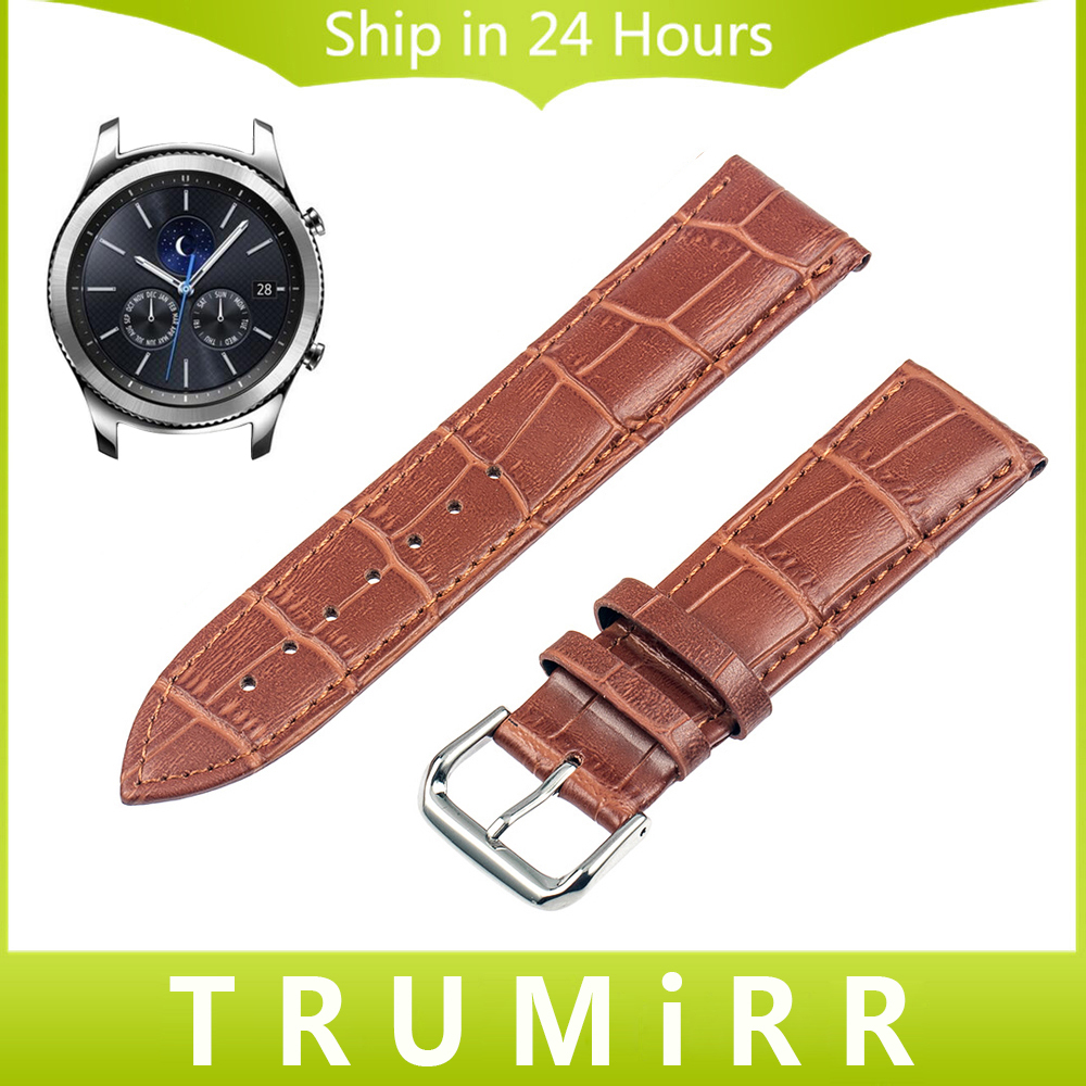 22mm Genuine Leather Watchband Croco Strap for Samsung Gear S3 Classic Frontier Garmin Fenix Chronos Watch Band Wrist Bracelet canvas nylon watchband tool for garmin fenix 5 forerunner 935 fr935 leather watch band sports strap steel buckle bracelet