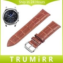 22mm genuina correa de cuero correa de cocodrilo para samsung gear s3 classic frontera venda de reloj de pulsera pulsera de la correa negro marrón rojo