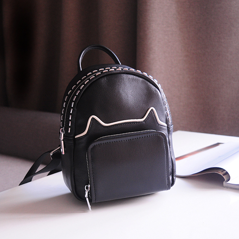 New Korean version of the first layer of leather shoulder bag leisure travel bag fashion leather wild cat ears backpack aetoo first layer of leather shoulder bag female bag korean version of the school wind simple wild casual elephant pattern durab