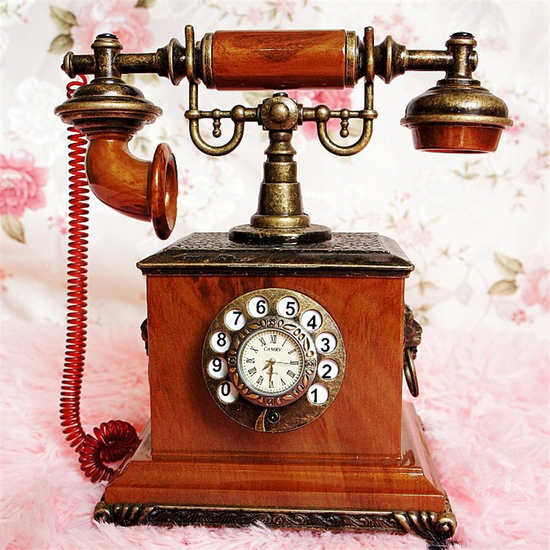 High Quality Vintage Telephone model retro with clock antique classic wrought sitting room decoration YWSM45